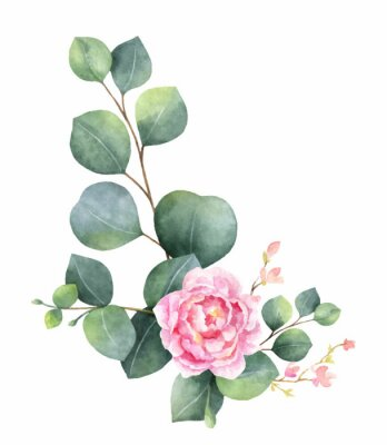 Sticker Watercolor vector wreath with green eucalyptus leaves, peony flowers and branches.