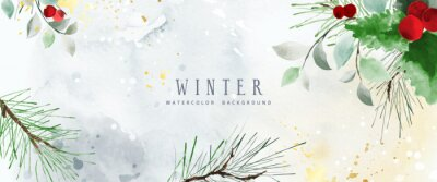 Sticker Watercolor winter art background with berries and seasonal leaves