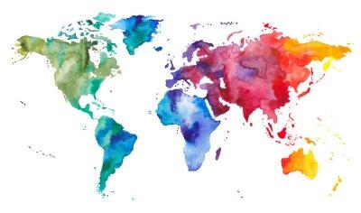 Sticker Watercolor World Map