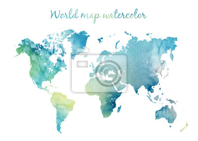 Sticker Watercolor world map in vector on wight background. Illustration in vector