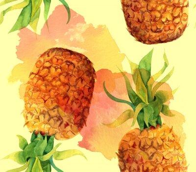 Sticker Watercolour pineapple seamless background pattern