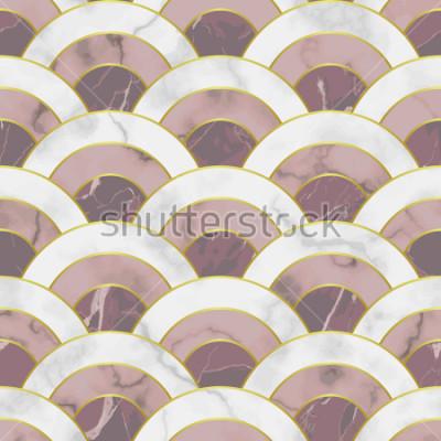 Sticker Wave Marmor nahtlose Muster. Abstrakter geometrischer Wiederholungshintergrund. Asiatischer traditioneller Hintergrund, Luxustapete mit goldenen Linien, rosa und weißer Textildruck, Innenfliese.