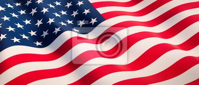 Sticker Waving flag of United States - Flag of America - 3D illustration