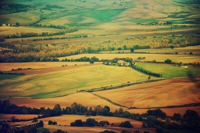 Sticker Wavy Felder in der Toskana bei Sonnenuntergang, Italien. Natürliche im Freienweinlesejahreszeithintergrund.