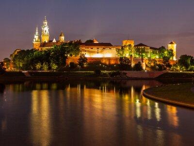 Sticker Wawel Schloss und Weichsel in der Nacht
