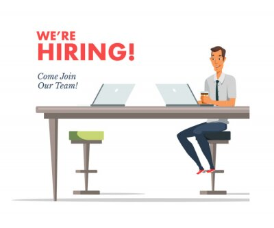 We are hiring lettering, text vector illustration
