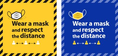Sticker Wear a mask and respect the distance