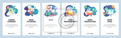 Sticker Web site onboarding screens. Computer and internet services, cloud storage and data sync. Menu vector banner template for website and mobile app development. Modern design linear art flat illustration