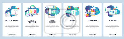 Sticker Web site onboarding screens. Graphic design, web and logotype design, computer fonts. Menu vector banner template for website and mobile app development. Modern design linear art flat illustration.