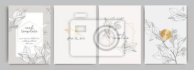 Sticker Wedding Invitation, floral invite thank you, rsvp modern card Design in golden rose leaf greenery  branches decorative Vector elegant rustic template