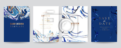 Sticker Wedding Invitation, Thank you Card, rsvp, posters, modern card Design Collection. Trendy Marble background, Marbling texture design in navy blue ,green turquoise and golden texture vector temple.