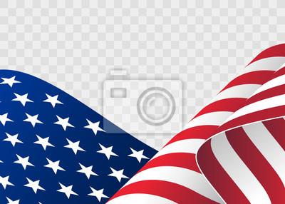 Sticker wehende Flagge der Vereinigten Staaten von Amerika. Abbildung der wellenförmigen amerikanischen Flagge für Unabhängigkeitstag. Amerikanische Flagge fließt. Amerikanische Flagge auf transparentem Hinte