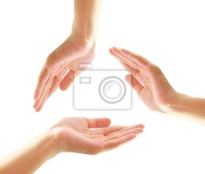 Weibliche Hände machen eine Form in Kreis mit Kopie-Raum und Isolat