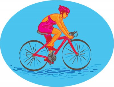 Sticker Weibliche Radfahrer Reiten Fahrrad Zeichnung