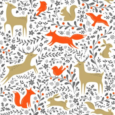 Sticker Weihnachten floralen Waldtiere nahtlose Muster auf weißem Hintergrund