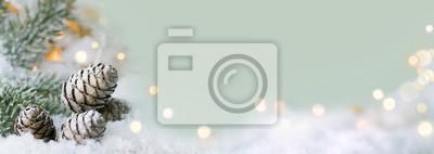 Sticker Weihnachten Hintergrund - Schneelandschaft mit funkelnden Lichtern