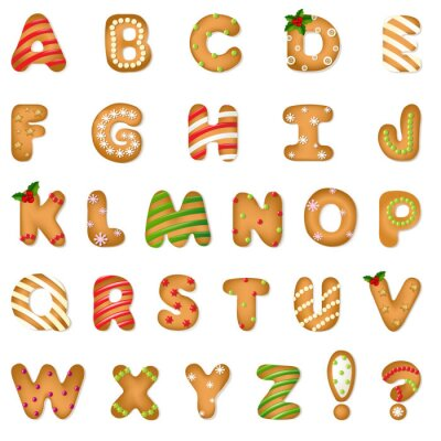 Sticker Weihnachten Lebkuchen Alphabetisch