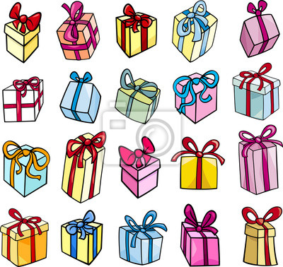 Weihnachten Oder Geburtstagsgeschenk Clip Art Set Notebook Sticker