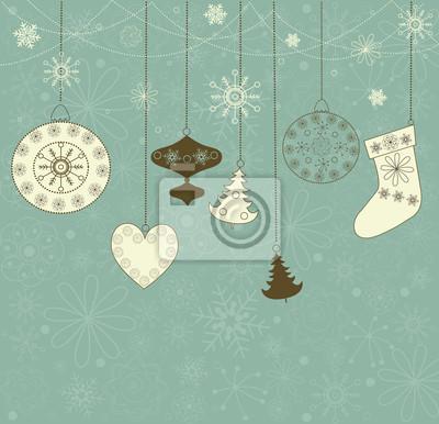Weihnachten Retro-Hintergrund mit Spielzeug.