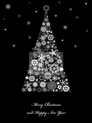 Weihnachtsbaum mit Schneeflocken.