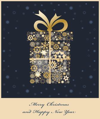 Weihnachtsgeschenk boxe aus goldenen Schneeflocken
