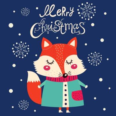 Sticker Weihnachtskarte mit niedlichen