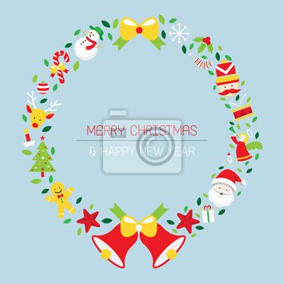 Sticker Weihnachtskranz mit Icons, Objekte