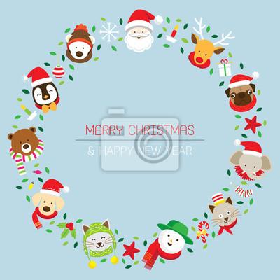 Weihnachtskranz mit Weihnachts & Tiere