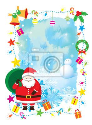 Weihnachtsmann, Dekorieren, Border & Hintergrund (mit Verlaufsgitter)