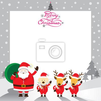 Sticker Weihnachtsmann, Dog & Rentier, Border & Hintergrund