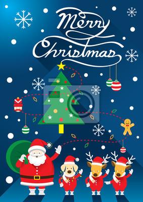 Weihnachtsmann, Dog & Rentier, Christmas Text
