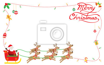 Weihnachtsmann, Rentieren, Border & Hintergrund