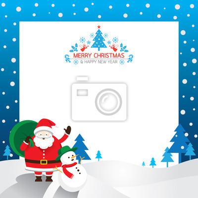 Weihnachtsmann, Schneemann, Border & Hintergrund