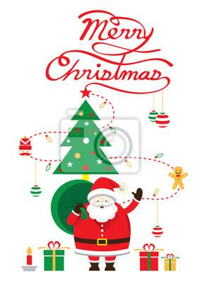 Sticker Weihnachtsmann, Weihnachts Text & Baum