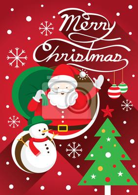 Sticker Weihnachtsmann, Weihnachts Text & Snowman