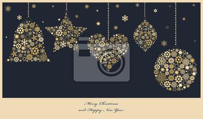 Weihnachtsschmuck aus goldenen Schneeflocken