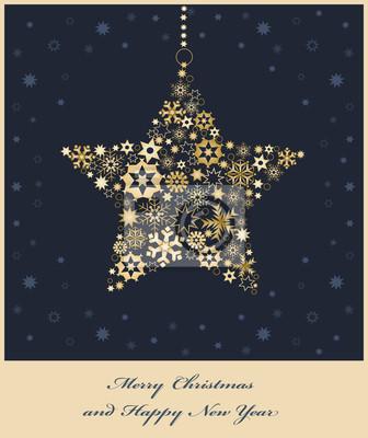 Weihnachtsstern aus goldenen Schneeflocken