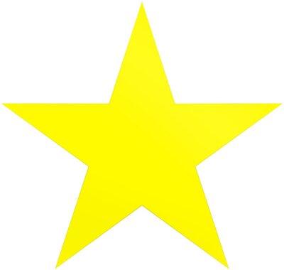 Sticker Weihnachtssterngelb - einfacher Stern mit 5 Punkten - lokalisiert auf Weiß