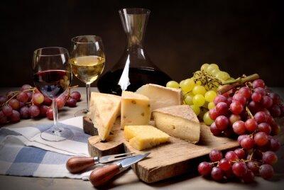 Sticker Wein, Trauben und Käse