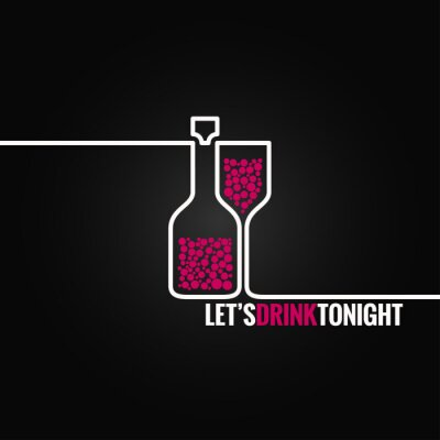 Sticker Weinflasche Glaslinie Design-Hintergrund eps 8