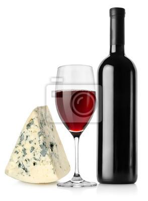 Weinflasche, Weinglas und Käse