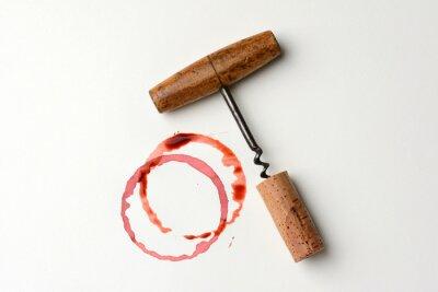 Sticker Weinfleck und antiker Korkenzieher