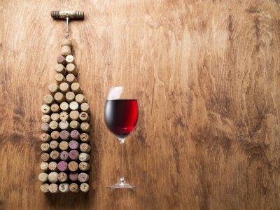 Sticker Weinkorken in Form von Weinflasche.