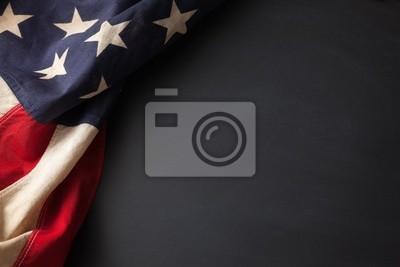 Sticker Weinlese-amerikanische Flagge auf einer Tafel