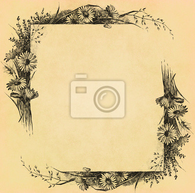 Weinlese-Blumenrahmen auf altem Papier