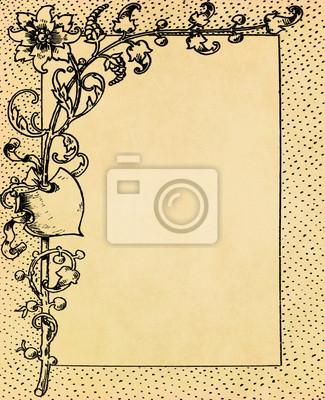 Weinlese-Blumenrahmen auf alten Grunge-Papier