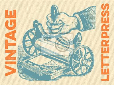 Sticker Weinlese-Buchdruck-Vektor