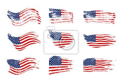 Sticker Weinlese, die USA-Flaggensatz wellenartig bewegt. Vektor, der amerikanische Flaggen auf Schmutzbeschaffenheit wellenartig bewegt.