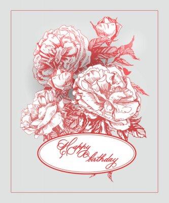 Sticker Weinlese-Geburtstagskarte mit blühender Rose und Schmetterlingen. (Verwendung für Bordkarte, Geburtstagskarte, Einladungen, danke Karte.) Vektor-Illustration.