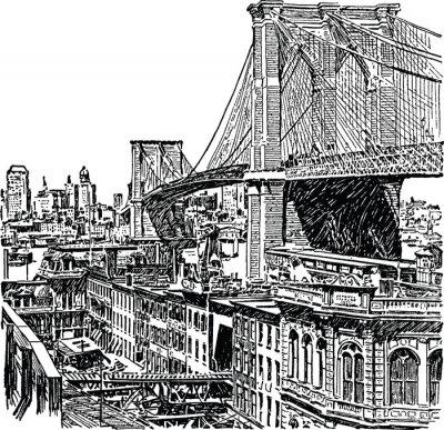 Weinlese-Grafik New York Brooklyn Bridge